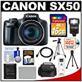 Canon PowerShot SX50 HS Digital Camera (Black) with 16GB Card + Flash + Case + Battery + Tripod + Accessory Kit