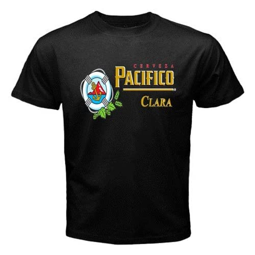 "Amazon.com: Pacifico Beer Logo New Black T-shirt Size ""L"