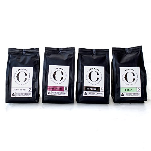 Buy Nespresso Pods Sample Pack - Organic, Fairtrade Coffee - Compatible with Your Nespresso Machine - Winner of the Sunday Times Taste Test - Try the Full CRU Family: Dark Roast, Light Roast, Intense and Decaf, in this Great Value Sample Pack -100% Money