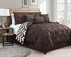Geneva Home Fashion 7-Piece Ella Pinch Pleat Comforter Set, Queen, Chocolate Brown