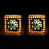 EarthenMetal Handcrafted Traditional Mosaic Design Decorated Cubical Shaped Tealight Holder (Candle Light Holder...