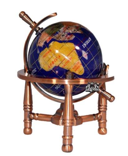 Imagen de Unique Art 6-pulgadas Tall Azul Lapis Ocean Table Top Mini Gemstone Globe Mundo con trípode de cobre