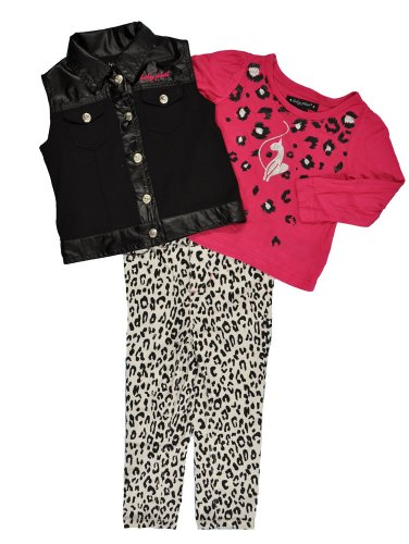 Baby Phat Newborn Girls Cream Vest 3Pc Leopard Print Pant Set (3/6M) (Baby Phat Pants compare prices)