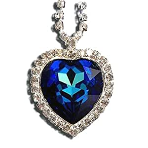 Titanic Heart of the Ocean Necklace Pendant Jewelry- Blue Swarovski Crystal