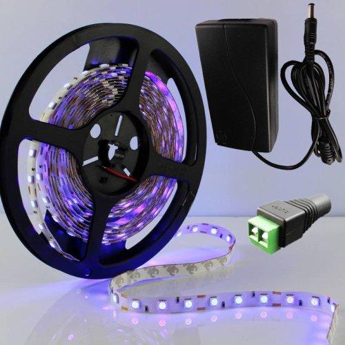 LED-Outlets(TM) 395-405nm 5M UV ultraviolet 300LEDs 5050 SMD black light Strip Lamp 12V 5A Power