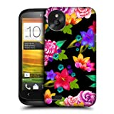 Head Case Designs Black Painted Flowers Protective Snap-on Hard Back Case Cover for HTC Desire X