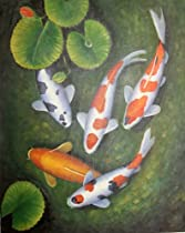 Cheap Koi Fish In Lily Pond Oil Painting On Stretched