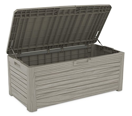xl toomax kissenbox z155 florida grau 550 liter inhalt holz optik mit sitzfl che 350 kg. Black Bedroom Furniture Sets. Home Design Ideas