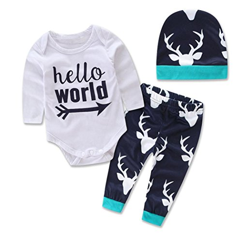 AMA(TM) Newborn Baby Girl Boy Deer Romper +Pants +Hat Outfits Clothes Set (3-6 month, Green)