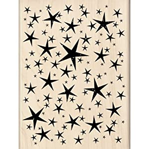 Inkadinkado 6-Inch-by-4.51-Inch Halloween Mounted Rubber Stamp, Starry Night Background