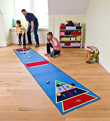 hearthsong-shuffle-zone-play-carpet-indoor-outdoor-shuffleboard-game-for-kids-2-wooden-cues-10-woode