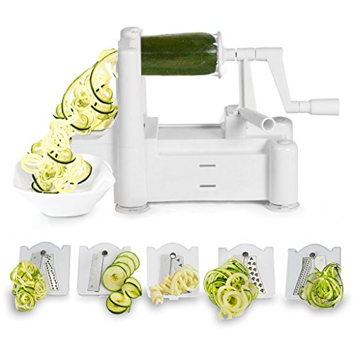 Spiralizer 5-Blade Vegetable Slicer, Strongest-and-Heaviest Duty, Best Veggie Pasta & Spaghetti Maker for Low Carb/Paleo/Gluten-Free Meals, With 3 Exclusive Recipe eBooks (Vegetable Fruit Spiraliser compare prices)