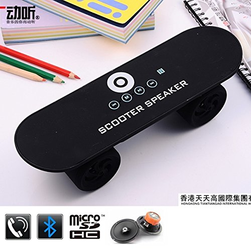 Evana Lightning Bluetooth 4.0 Wireless Skateboard Scooter Speaker - Best Gift Idea for Teenagers Portable Design Powerful Bass Supports USB and MicroSD Handsfree Built-in Speakerphone Mic for iPhone iPad Nexus Samsung LG HTC Sony Blackberry (Random Color)