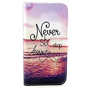 Samsung Galaxy Prevail LTE Case, Galaxy Core Prime Case,G360 Case, DANHUA Flip PU Leather Wallet Case [Wallet Function] Holder Cover with Stand for Samsung Galaxy Core Prime G360/G3606/G3608/G3609/Prevail LTE - Never Stop Dreaming
