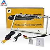 Car Rear View Backup Camera, Auto Safety Universal USA Metal Shell Car License Plate Frame Mount, Parking/Reverse Assistance, 170 Degree Wide Angle With 8 IR LED Night Vision waterproof(Silver)
