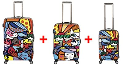 Heys USA - 3pcs. - SET 100 GBP Discount - Britto Garden, High-quality designer artist luggage set - 55 cm hand luggage, 66 cm and 76 cm 4-wheels Trolley by Heys USA