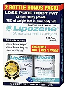Lipozene - Amorphophallus Konjac Maximum Strength Fat Loss Supplement Bonus 2 bottles 1500 Mg. by Lipozene