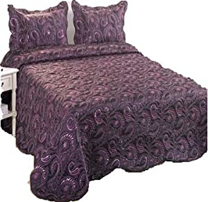 jasmine couvre lit dessus de lit 2 couvre oreillers perles grande taille 264 x 264 cm. Black Bedroom Furniture Sets. Home Design Ideas