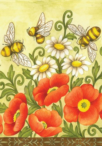 Toland Home Garden Bees And Wildflowers House Flag 108340