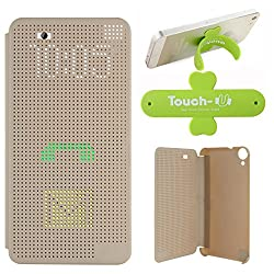 DMG Dot View Interactive Flip Cover Case for HTC Desire 820 (Gold) + Touch U Mobile Stand