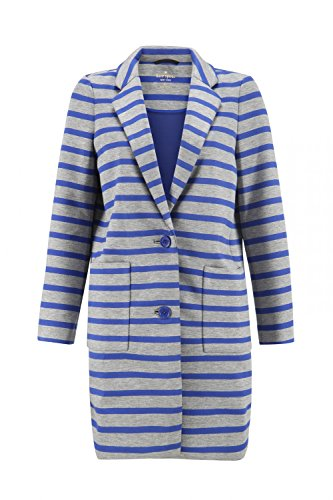 Kate Spade New York Oversize Scuba Stripe Coat - S - Grey & Blue