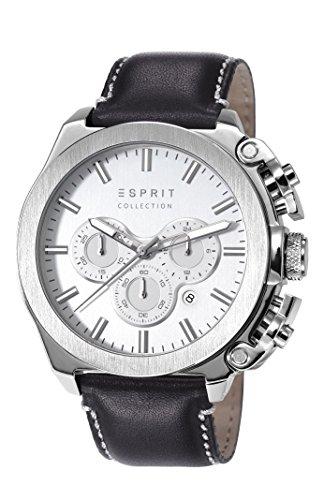 Esprit Tityos - Reloj de cuarzo para hombre, correa de cuero color negro