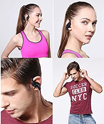 Bluetooth Headphones V4.1 Sport Stereo In-Ear CVC 6.0 Noise Cancelling Wireless Earphone with Mic, Adjustable Earhooks, IPX4 Sweatproof , Premium Sound with Bass, Running Earbuds, Secure Fit - Black