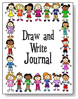 Draw and Write Journal For Kids - Boys and girls of different races form a colorful border around the cover of this draw and write journal for younger kids.