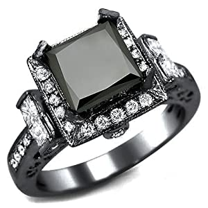 2.75ct Black Princess Cut Diamond Engagement Ring 14k Black Gold Rhodium Plating Over White Gold