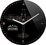 Homescapes Horloge murale RAF Spitfire, en verre, 30 cm de diamètre, noir...