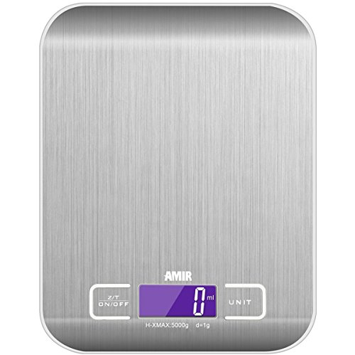 Digital Food Scale, [5000g, 0.1oz/ 1g] Amir® Kitchen Scale, Electronic Cooking Food Scale with LCD Display, Stainless Steel, Accurate Gram and Slim Design [Guaranteed Satisfaction]