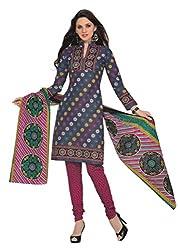 Araham Grey Printed 100% Cotton Unstitched Salwar Suit Dress Material