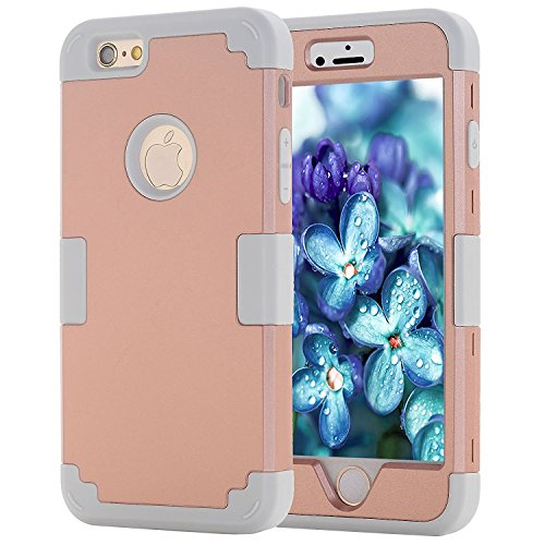 iPhone 6 Case, Shock Absorbing Case with Hybrid 3in1 Cover Soft silicone + Hard PC for Apple iPhone 6s (4.7 inch) 2014 Release (Iphone 6 3in1 Hard Hybrid Case compare prices)