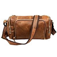 QUANGANG Men's Crossbody Genuine Leather Travel Briefcase Satchel Duffle Gym Bag