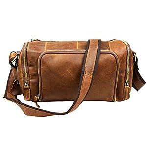 QUANGANG Men's Crossbody Genuine Leather Travel Briefcase Satchel Duffle Gym Bag