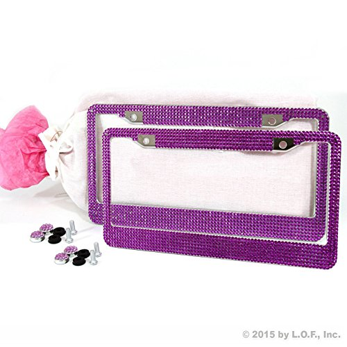 (2) Bling Purple Crystal RhineStone Glitter License Plate Frame Premium Gift Bag (License Plate Frame Studded compare prices)