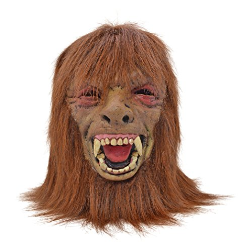 Adult Foam Werewolf Mask With Hair Halloween Costume Fancy Dress Outfit