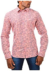Casinova Men's Cotton Casual Shirt (1010_A-Medium, Pink, Medium)