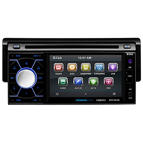 BOSS AUDIO BV7464B Single-DIN 4.6 inch Touchscreen DVD Player Receiver, Bluetooth. Detachable Front Panel, Wireless Remote (280z Steering Wheel compare prices)