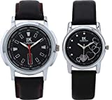 IIK Collection Pair of Round Black Dial Men's Watch & Black Dial Women's Watch IIk-502M-1503W