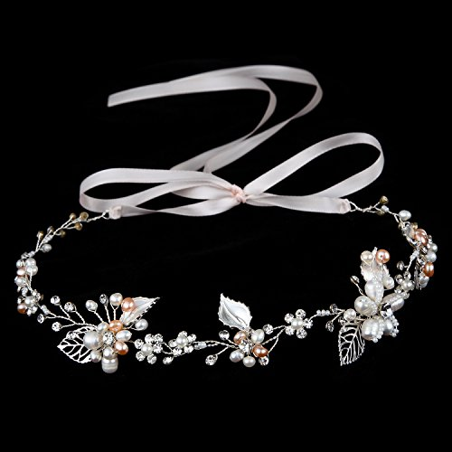 Oureamod Silvery Wedding Headbands Freshwater Pearls Prom Bridal Hair Accessories