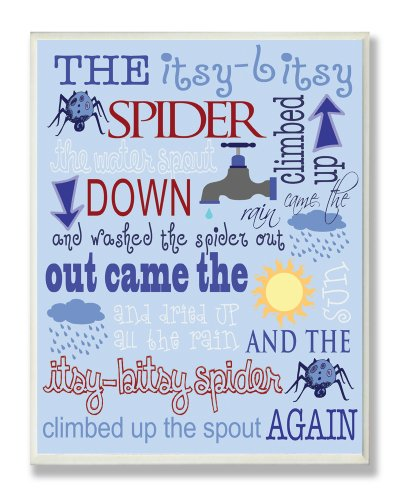 The Kids Room by Stupell The Itsy Bitsy Spider Nursey Rhyme on Blue Background Rectangle Wall Plaque