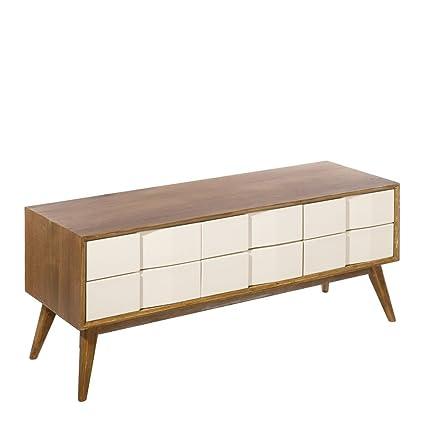 Mueble de TV de madera con 6 cajones beige nórdico para salón Fantasy - Lola Home