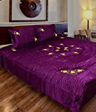 fashionadobe Home Décor satin Gold Printed Double Bedsheet with 2 pillow cover