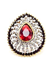 Aria Party Wear Maroon Red CZ Gold Plated Adjustable Finger Ring Fr221