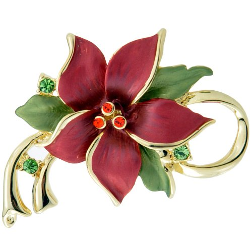 Red Poinsettia Christmas Star Flower Swarovski