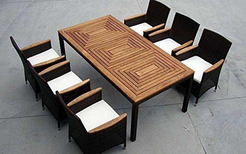 Baidani Gartenmöbel-Sets 10d00014.00001 Designer Garnitur Balance XXL, 1 Tisch, 6 Stühle, Sitzauflagen, schwarz