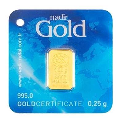 Goldbarren 0,25 g Gramm Barren aus Gold Feingold 995 geblistert Nadir Gold LBMA-zertifiziert