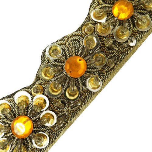 Light Gold Cut Work Style Beaded Trim Sewing Craft Border Lace India 3 Yd