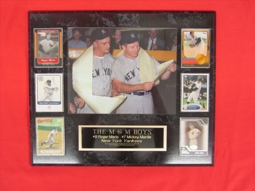 J & C Baseball Clubhouse Jc000022 Mickey Mantle Roger Maris 6 Card Collector Plaque With 8X10 Rare Vintage Photo front-317608
